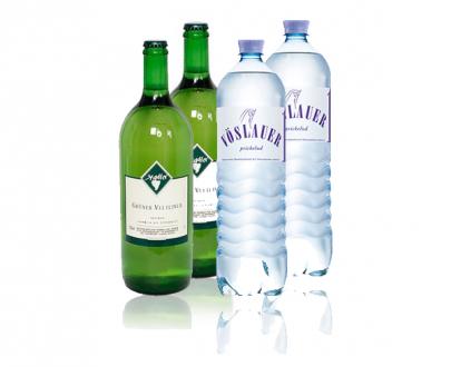 Weisswein gespritzt - 2 Flaschen Grüner Veltliner + 2 Flaschen Vöslauer Prickelnd